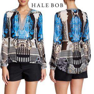 Hale Bob Baroque Silk Long Sleeve Tunic Hi Lo Sz